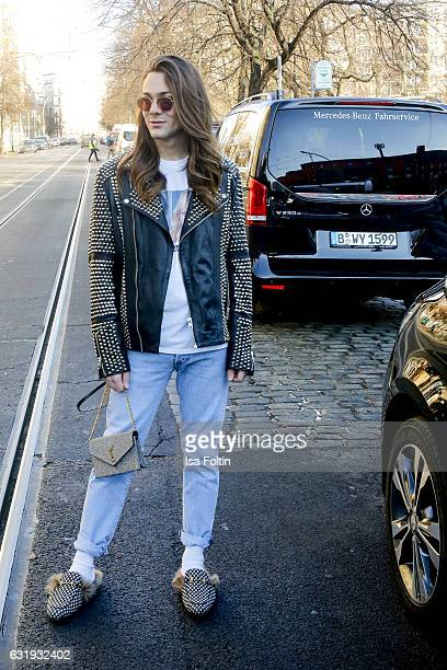 Blogger and Influencer Riccardo Simonetti seen on the way to the holyGhost show during the MercedesBenz Fashion Week Berlin A/W 2017 at Kaufhaus...