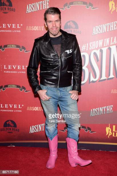 Blogger and tv personality Perez Hilton arrives to the opening night of 'Absinthe' at LA Live Event Deck on March 23 2017 in Los Angeles California