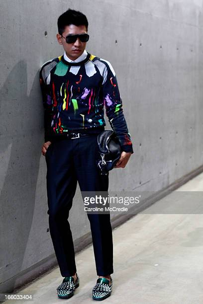 Blogger Brianboy wears a jumper by Christopher Kane at MercedesBenz Fashion Week Australia Spring/Summer 2013/14 at Carriageworks on April 8 2013 in...
