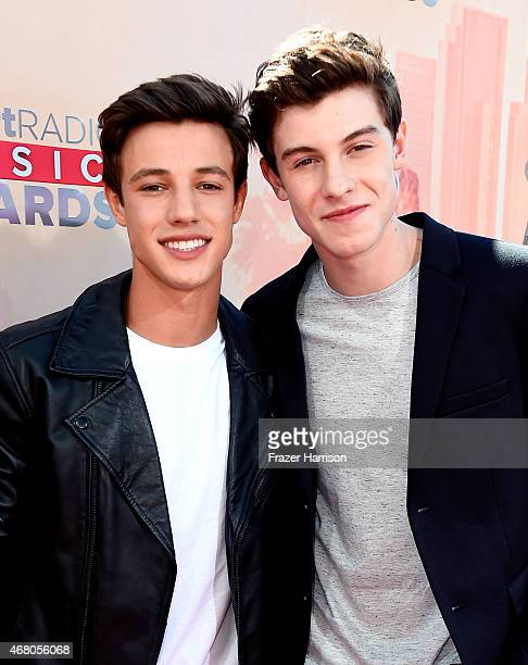 Blogger Cameron Dallas and singer Shawn Mendes attend the 2015 iHeartRadio Music Awards which broadcasted live on NBC from The Shrine Auditorium on...