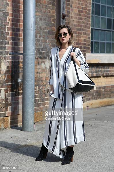 Blogger Carmen Hamilton wearing Bec Bridge and Balenciaga tote bag at MercedesBenz Fashion Week Australia 2015 at Carriageworks on April 13 2015 in...