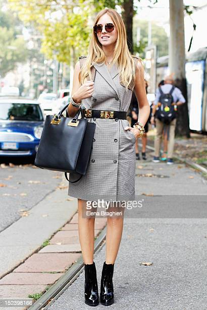 Blogger Chiara Ferragni attends the Gucci show in Milan wearing a Stefanel dress during Milan Fashion Week Womenswear Spring/Summer 2013 on September...