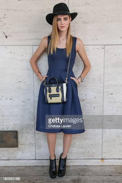 Blogger Chiara Ferragni is seen wearing Chiara Ferragni shoes and a Celine purse on the Streets of Manhattan on September 11 2013 in New York City