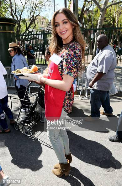 Blogger Courtney Sixx attends the Los Angeles Mission's Easter Celebration Of New Life at Los Angeles Mission on March 25 2016 in Los Angeles...
