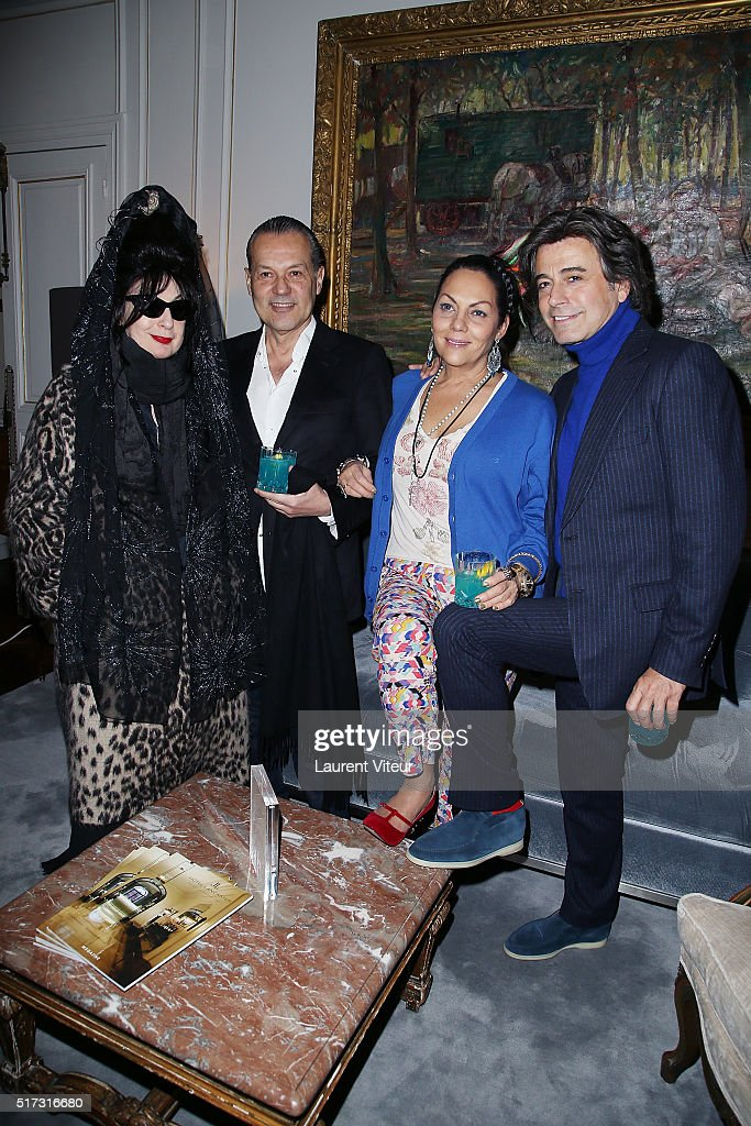 Blogger <a gi-track='captionPersonalityLinkClicked' href=/galleries/search?phrase=Diane+Pernet&family=editorial&specificpeople=4347865 ng-click='$event.stopPropagation()'>Diane Pernet</a>, guest, Princess Hermine de Clermont Tonnerre and Hair Dresser Alexandre Zouari attend 'Blue Angles Suite' Launch Party at Hotel Lancaster on March 24, 2016 in Paris, France.