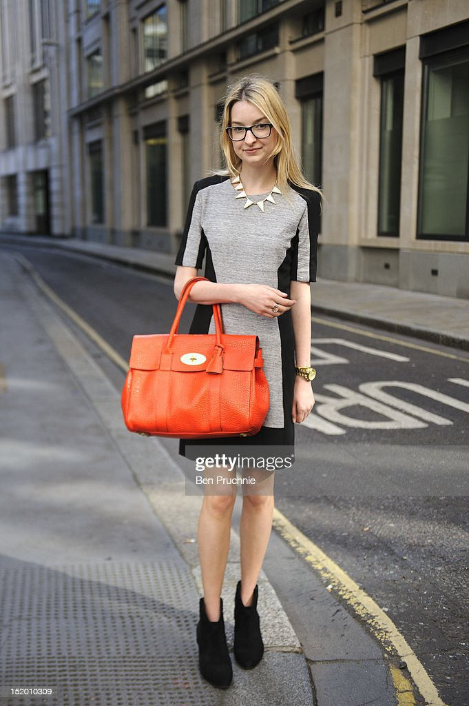 Blogger Ella poses wearing a Mango dress, Ash boots and a Mulberry bag at the Kinder Aggugini show during London Fashion Week S/S 2013 on September 15, 2012 in London, England.