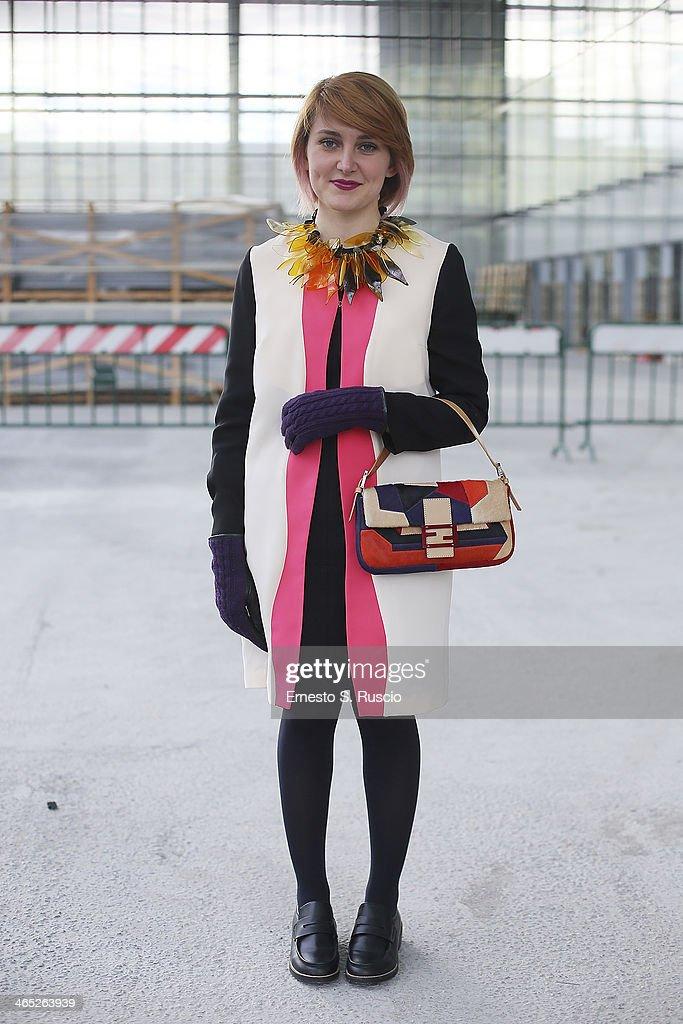 Blogger Fabrizia Siena wears Fendi Bag and Compagnia Italiana coat on day 3 Rome Fashion Week Spring/Summer 2014, on January 26, 2014 in Rome, Italy.