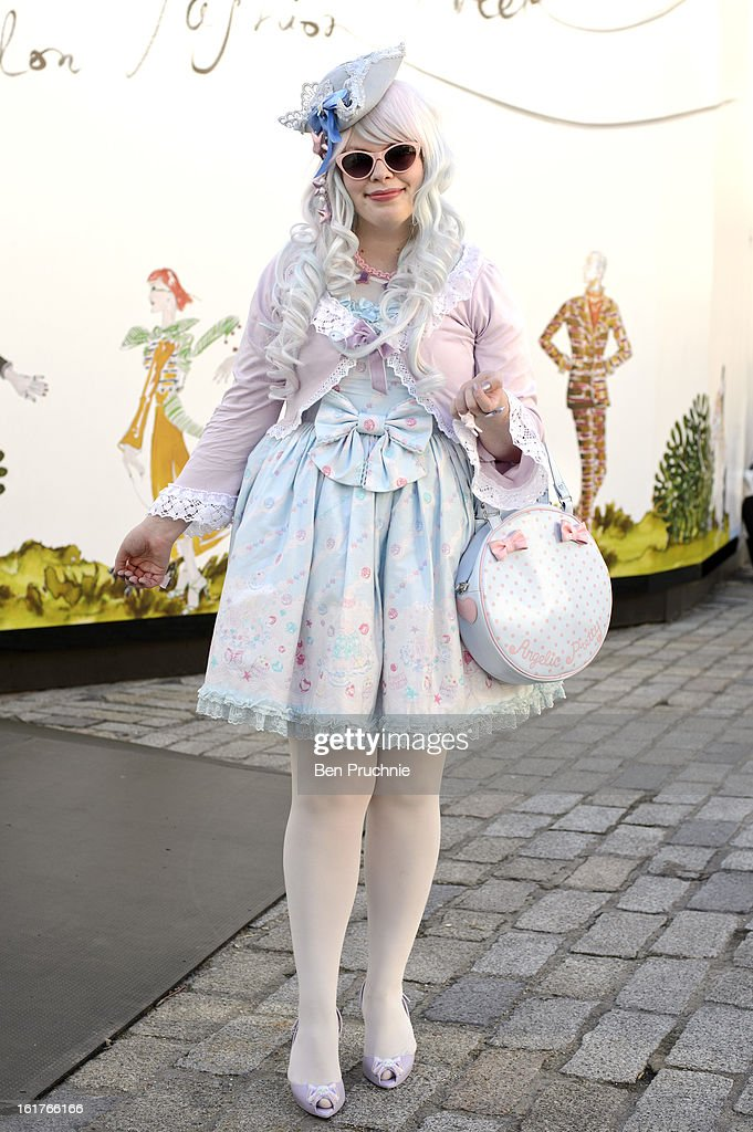 Blogger Flori (21) poses wearing an Angelic pretty dress and bag with accessories from various 'indie' designers and Vivienne Westwood shoes at the KTZ London Fashion Week F/W 2013 presentation at Somerset House on February 15, 2013 in London, England.