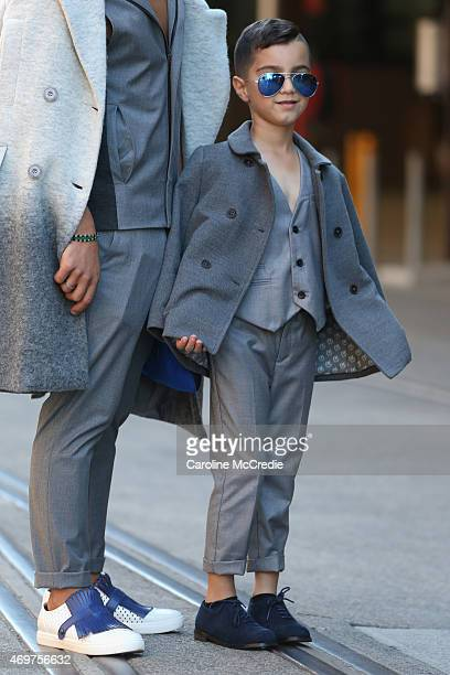 Blogger Hass Murad and his son at MercedesBenz Fashion Week Australia 2015 at Carriageworks on April 15 2015 in Sydney Australia
