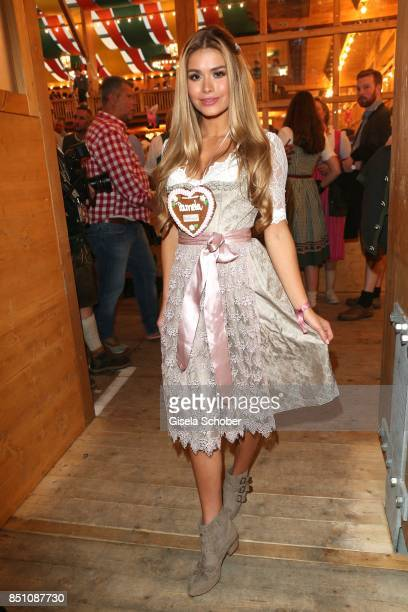 Blogger influencer Pamela Reif at the 'Madlwiesn' event during the Oktoberfest at Theresienwiese on September 21 2017 in Munich Germany