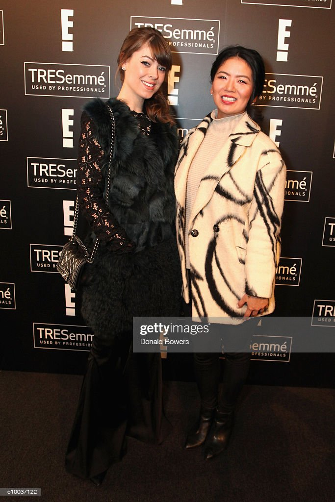 Blogger Jenny Bernheim (L) and Amy Choi attend the TRESemme Salon at Moynihan Station on February 13, 2016 in New York City.
