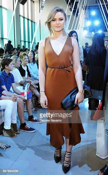 Blogger Kristina Bazan attends Lacoste Front Row Backstage Spring 2016 New York Fashion Week at Spring Studios on September 12 2015 in New York City