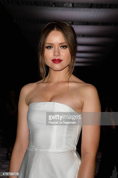 Blogger Kristina Bazan attends the Giambattista Valli show as part of Paris Fashion Week Haute Couture Fall/Winter 2015/2016 on July 6 2015 in Paris...
