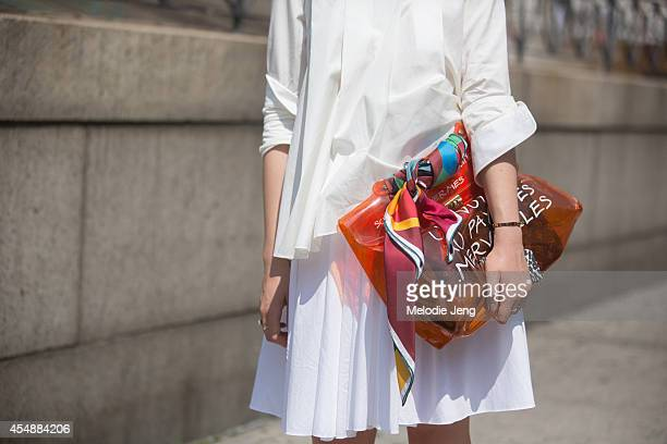 Blogger Kristina Bazan wears an Hermes outfit on Day 3 of New York Fashion Week Spring/Summer 2015 on September 6 2014 in New York City