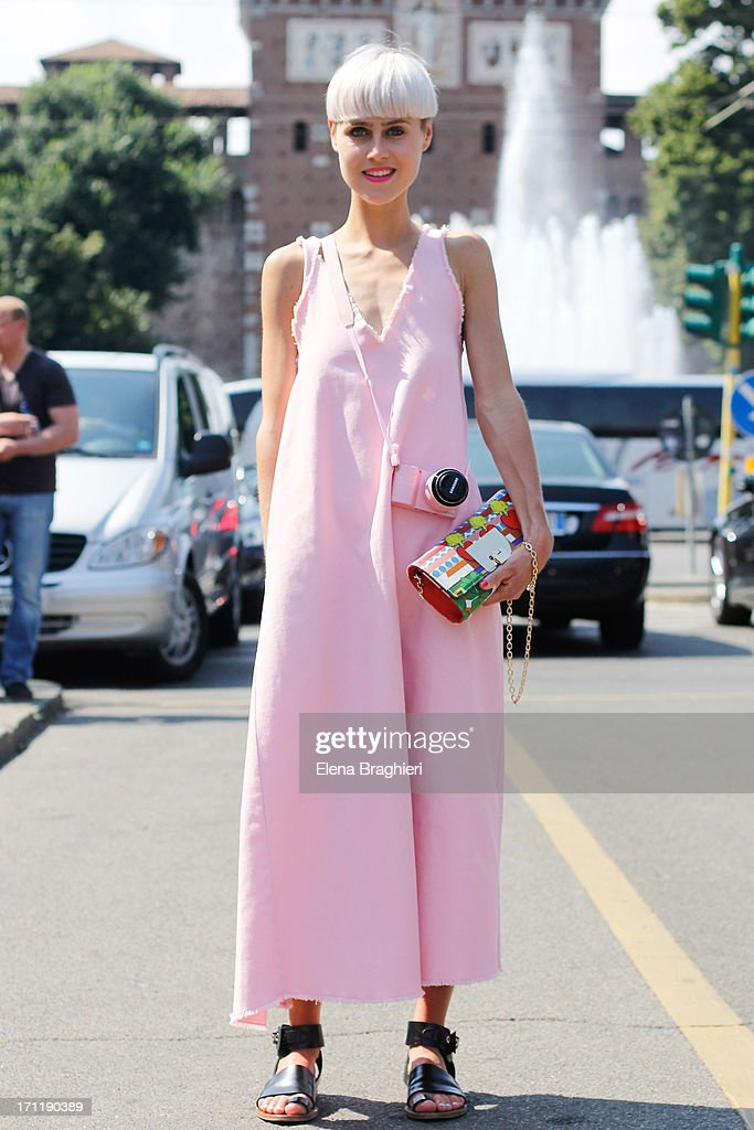 Blogger Linda Tol during Milan Fashion Week Menswear Spring/Summer 2014 on June 22, 2013 in Milan, Italy.