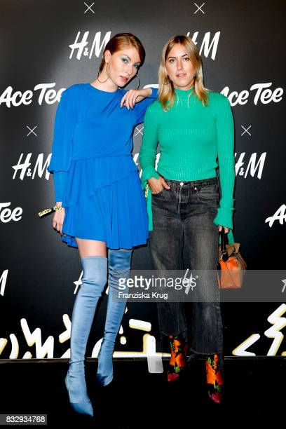 Blogger Lisa Banholzer and blogger Tanja Trutschig attend the HM Acee Tee showcase on August 16 2017 in Berlin Germany