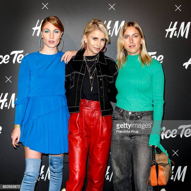 Blogger Lisa Banholzer blogger Caro Daur and blogger Tanja Trutschig attend the HM Acee Tee showcase on August 16 2017 in Berlin Germany