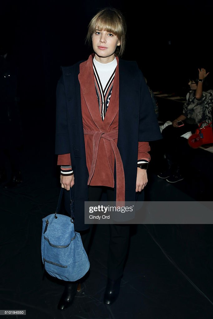 Blogger Lisa Dengler attends the Tome Fall 2016 fashion show during New York Fashion Week: The Shows at The Dock, Skylight at Moynihan Station on February 14, 2016 in New York City.