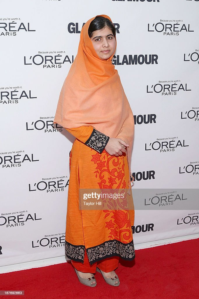 Blogger <a gi-track='captionPersonalityLinkClicked' href=/galleries/search?phrase=Malala+Yousafzai&family=editorial&specificpeople=5849423 ng-click='$event.stopPropagation()'>Malala Yousafzai</a> attends the Glamour Magazine 23rd annual Women Of The Year gala on November 11, 2013 in New York, United States.