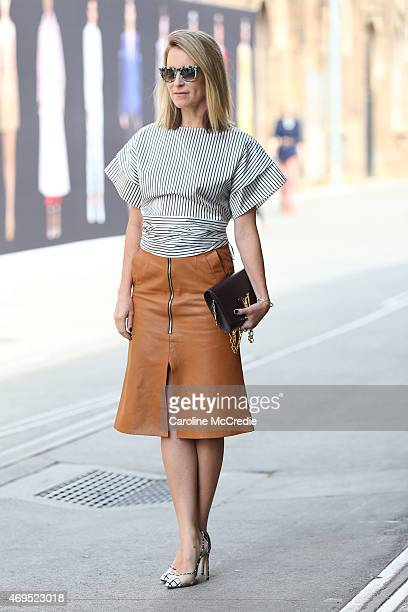 Blogger Mandy Shadforth poses at MercedesBenz Fashion Week Australia 2015 at Carriageworks on April 13 2015 in Sydney Australia