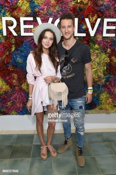 Blogger Marcel Floruss and guest attend the #REVOLVEfestival at Coachella with Moet Chandon on April 16 2017 in La Quinta CA Merv Griffin Estate