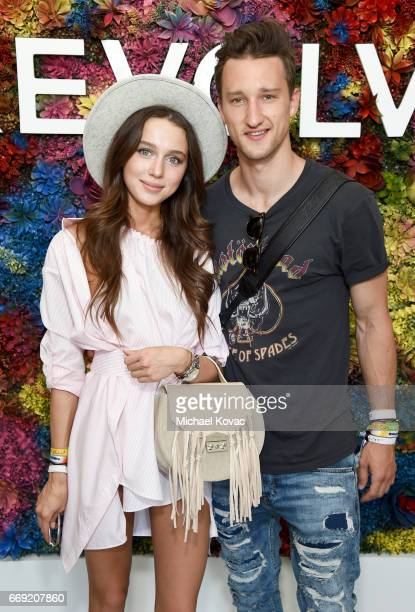 Blogger Marcel Floruss and guest attend the #REVOLVEfestival at Coachella with Moet Chandon on April 16 2017 in Palm Springs California