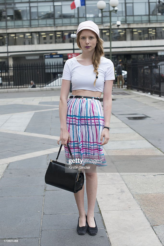Blogger Marie Jensen wears vintage skirt, bag and shoes, a Costa hat and an American Apparel top on day 3 of Paris Collections: Womens Haute Couture on July 03, 2013 in Paris, France.