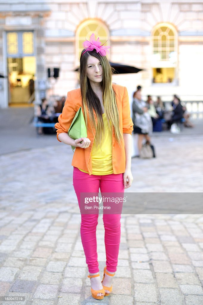Blogger Marta poses wearing a vintage blazer, primary top and jeans, a vintage bag from ebay and unknown shoes t the Issa London catwalk show during London Fashion Week Spring Summer 2013 on September 15, 2012 in London, England.