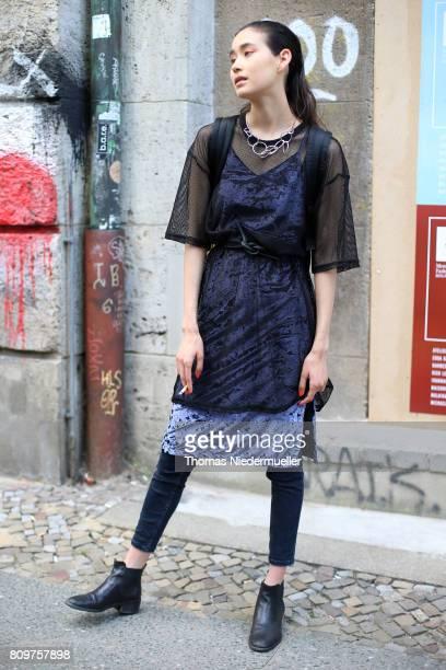 Blogger Mijunajuliet is seen during the MercedesBenz Fashion Week Berlin Spring/Summer 2018 at Kaufhaus Jandorf on July 6 2017 in Berlin Germany