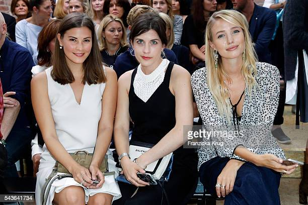 Blogger Nina Schwichtenberg and Leonie Sophie Hanne attend the Dorothee Schumacher show during the MercedesBenz Fashion Week Berlin Spring/Summer...