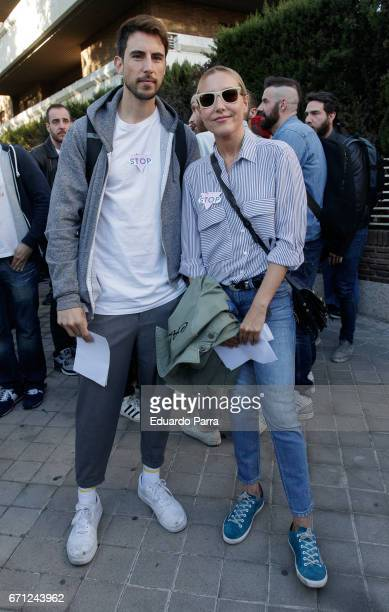 Blogger Pepino Marino and Berta Collado attend a demonstration to support LGTB in Chechenya at Russian embassy in Madrid on April 21 2017 in Madrid...