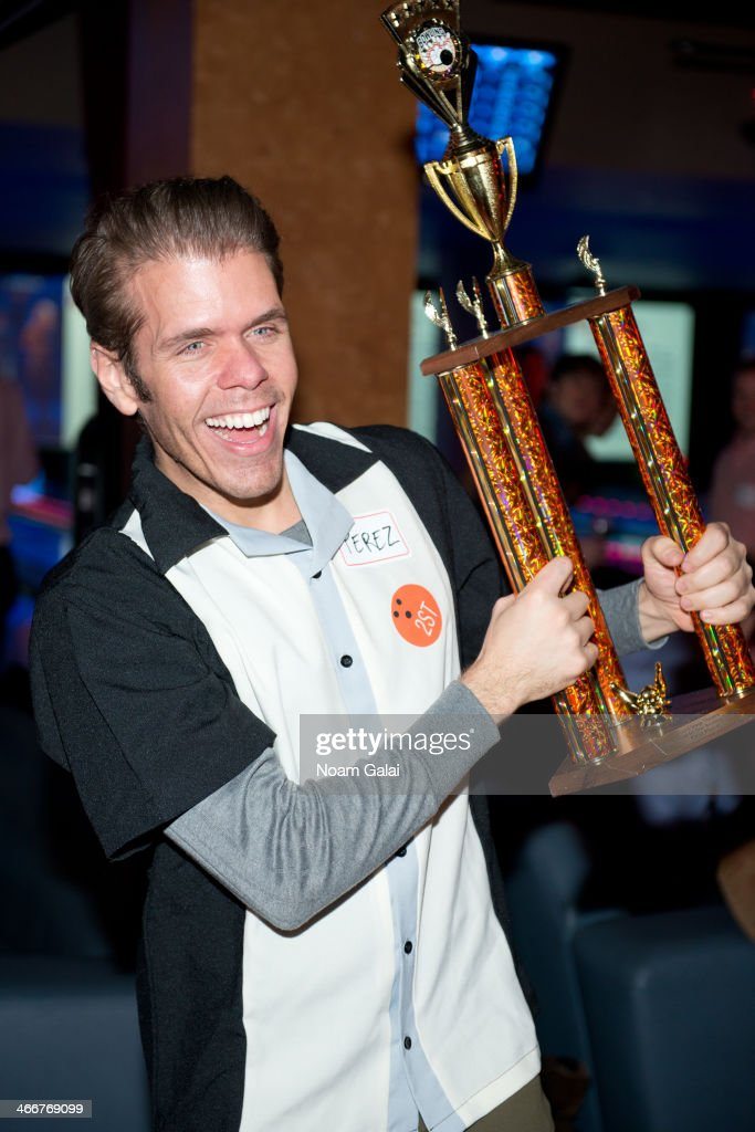 Blogger Perez Hilton attends 2014 Second Stage Theatre's AllStar Bowling Classic fundraiser at Lucky Strike Lanes Lounge on February 3 2014 in New...