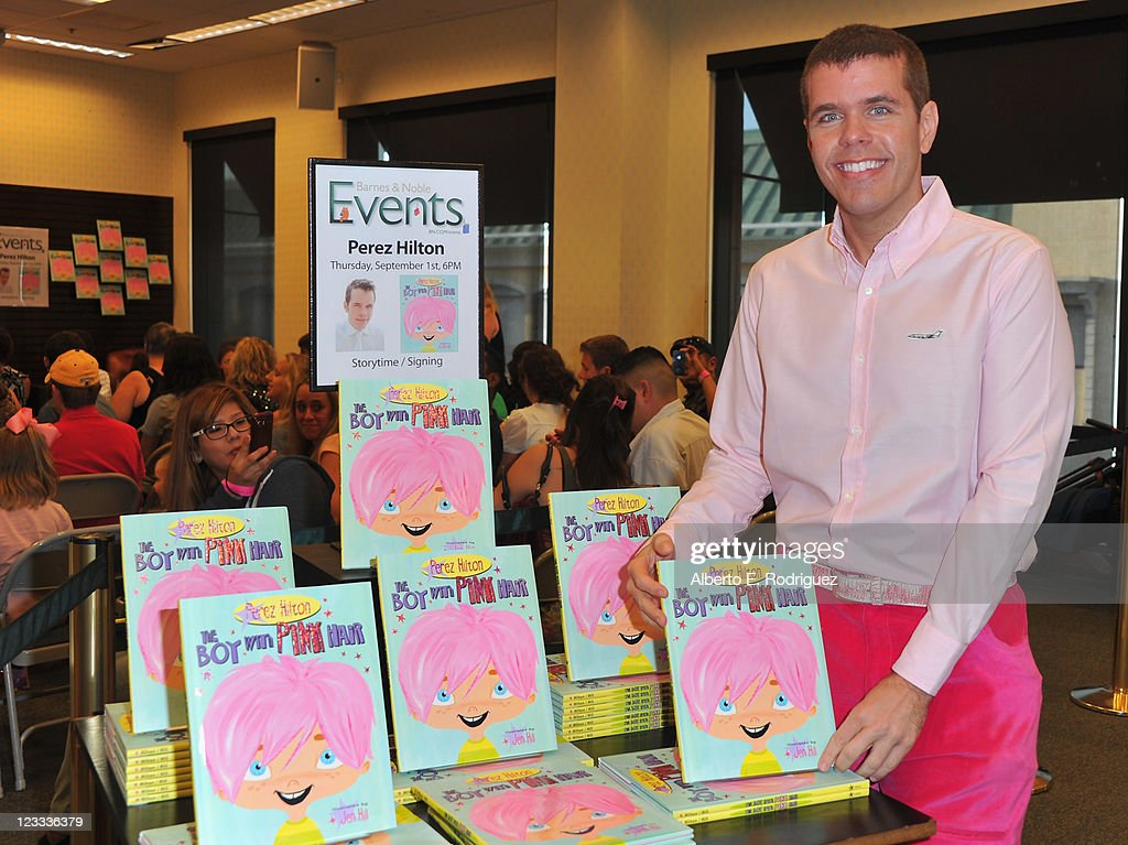 Blogger Perez Hilton attends a signing for his new book 'The Boy With Pink Hair' at Barnes & Noble at The Grove on September 1, 2011 in Los Angeles, California.