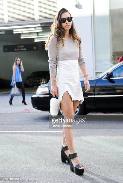 Blogger Rumi Neely is seen outside the Rag and Bone show on September 6 2013 in New York City