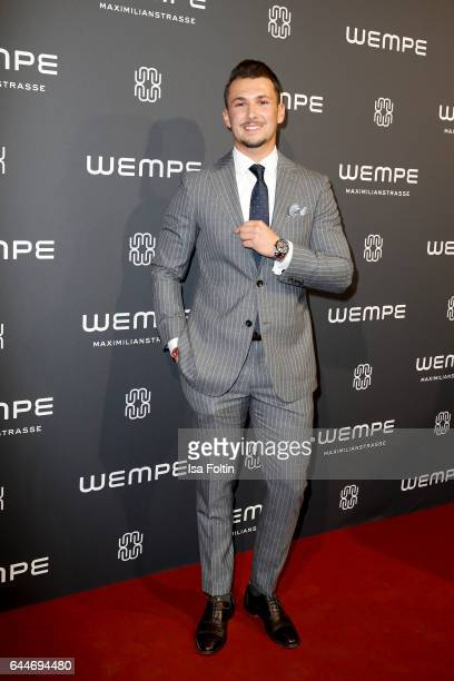 Blogger Sandro Rasa attends the Wempe store opening with the Rolls Royce shuttels in front of the store on February 23 2017 in Munich Germany