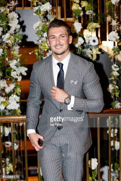 Blogger Sandro Rasa wearing a watch of Wempe during the Wempe store opening on February 23 2017 in Munich Germany