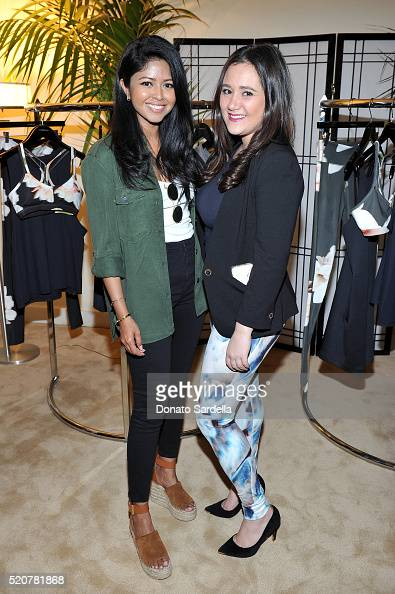 Blogger Sheryl Luke and MML PR Account Manager Mimi Levine attend the Carbon38 Spring Collection launch dinner on April 12 2016 in Los Angeles...
