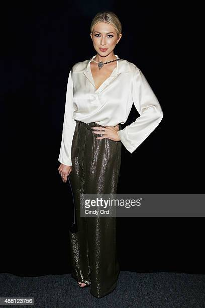 Blogger Stassi Schroeder backstage at Georgine Spring 2016 during New York Fashion Week The Shows at The Dock Skylight at Moynihan Station on...