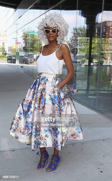 Blogger stylist from Amsterdam Maureen Powel @MaureenPowel wearing HM top skirt by LK Bennett sunglasses by Chanel during Spring 2016 New York...