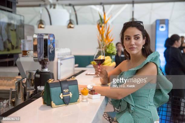 K blogger Tamara Kalinic at the opening of the American Express Centurion Lounge at Hong Kong international airport on September 29 2017 in Hong Kong...
