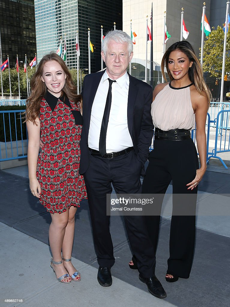 Blogger Tanya Burr, film producer/director Richard Curtis and singer/actress Nicole Scherzinger attend the premiere of Global Goals 60 second Cinema Ad at the United Nations on September 24, 2015 in New York City.