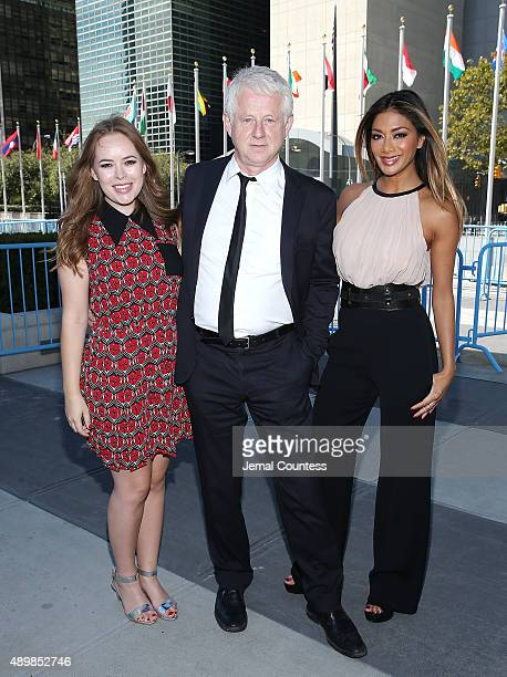 Blogger Tanya Burr film producer/director Richard Curtis and singer/actress Nicole Scherzinger attend the premiere of Global Goals 60 second Cinema...