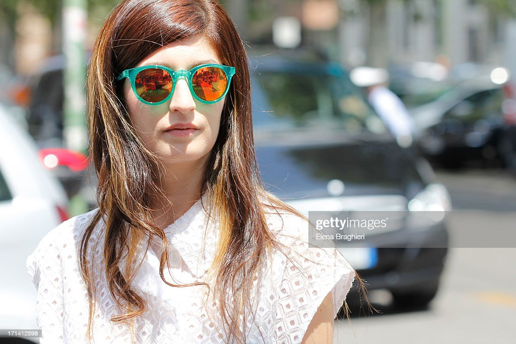 Blogger Valentina Siragusa is seen at Milan Fashion Week Menswear Spring/Summer 2014 on June 23, 2013 in Milan, Italy. She's wearing a Stella Mc Cartney look