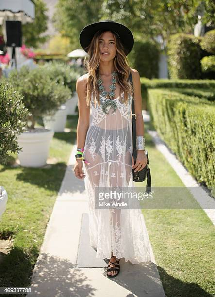 Blogger/model Rachel Barnes attends POPSUGAR SHOPSTYLE'S Cabana Club Pool Parties Day 1 at the Avalon Hotel on April 11 2015 in Palm Springs...