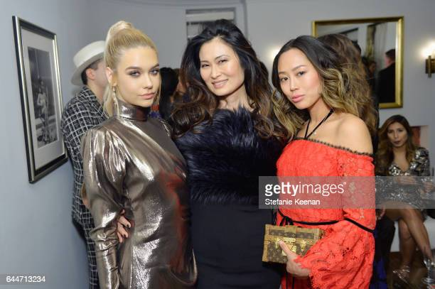 Bloggers Amanda Steele SunHee Grinnell and Aimee Song attend Vanity Fair and Lancome Toast to The Hollywood Issue at Chateau Marmont on February 23...