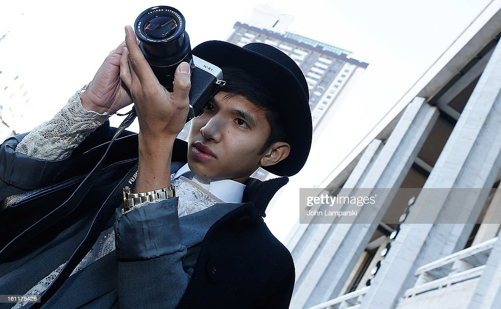 Bloggers at Lincoln Center Fashion Shows are seen on the Streets of Manhattan on February 9, 2013 in New York City.