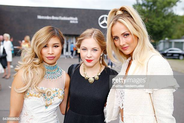 Bloggers Kisu Diana zu Loewen and Carmen Mercedes during the MercedesBenz Fashion Week Berlin Spring/Summer 2017 at Erika Hess Eisstadion on June 28...