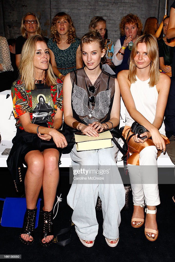 Bloggers Mandy Shadworth, Zanita Morgan, and Jessica Stein attends the Aje show during Mercedes-Benz Fashion Week Australia Spring/Summer 2013/14 at Carriageworks on April 9, 2013 in Sydney, Australia.