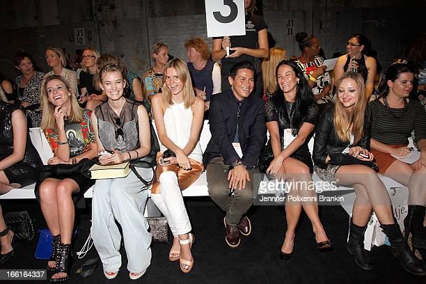 Bloggers Mandy Shadworth Zanita Morgan Jessica Stein Andrew Serrano of IMG attend the Aje show during MercedesBenz Fashion Week Australia...