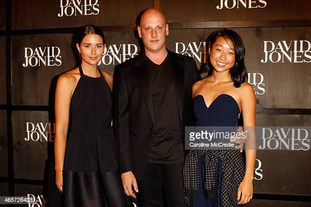 Bloggers Sara Donaldson and Margaret Zhang and Designer Michael Lo Sordo arrives at the David Jones A/W 2014 Collection Launch at the David Jones...
